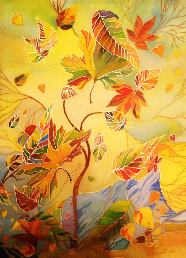 Осенняя открытка батик