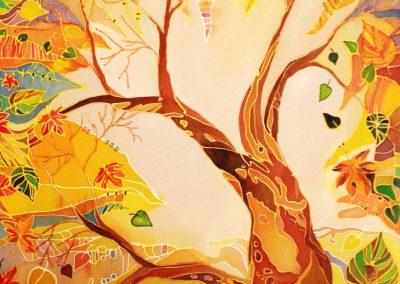 22 «Осень. Дерево.»Батик («Autumn. Tree») Batik 40x60 sm