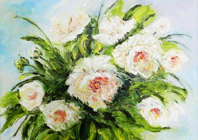 8«Белые пионы» (« White peonies») 40x50 sm